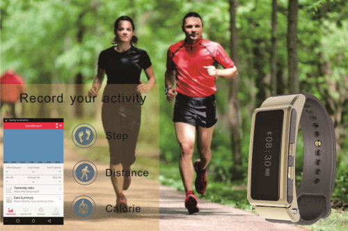 0.86 inch OLED screen bluetooth 4.0 wearable smart rubber bracelets bluetooth headset