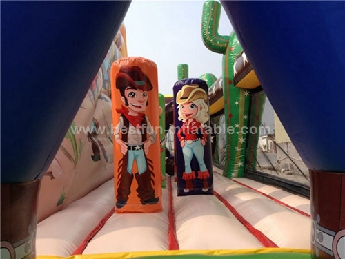 Funny inflatable cowboy obstacle course and western combo inflatable slide