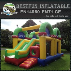 Inflatable slide obstacle course combo