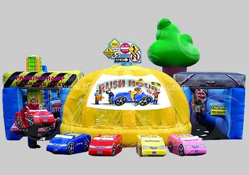 Inflatable car obstacle course for amusement