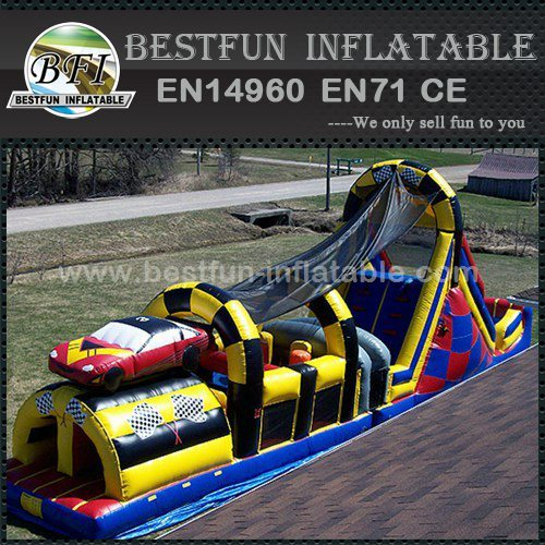 Race car inflatable obstacle game