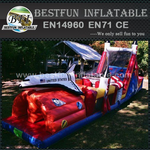 Inflatable obstacle course with spaceship