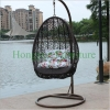 Brown wicker material hammock with cushions rattan hanging chair