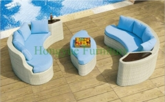 Outdoor rattan sectional sofa set with blue cushions design