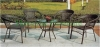 Wicker material patio table chair set furniture