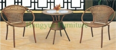 Brown color rattan wicker table chair furniture solutions