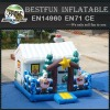 Snowman inflatable bounce house for christmas with tree