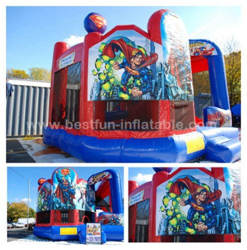 Inflatable new superhero bouncy castle with air pumps