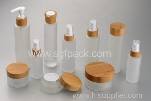 ALL SIZE frosted Glass jar with bamboo cap
