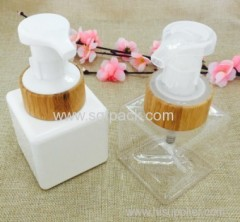 NEW ITEM 220ml BEAUTIFUL SQUARE PETG BOTTLE WITH BAMBOO FOAM PUMP