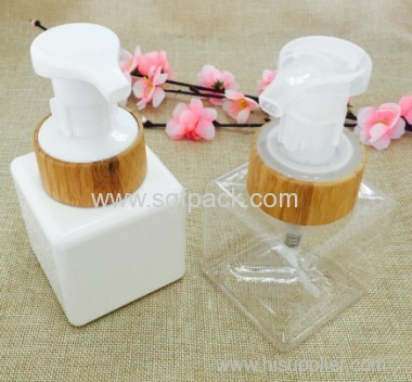 220ml BEAUTIFUL SQUARE PETG LOTION BOTTLE WITH BAMBOO FOAM PUMP