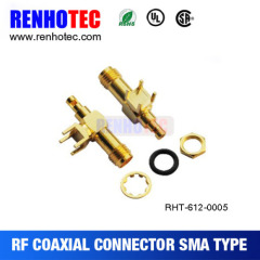 PCB board Gold plated bulkhead electrical SMA connector