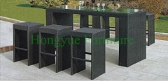 Bar height rattan material table chair set furniture