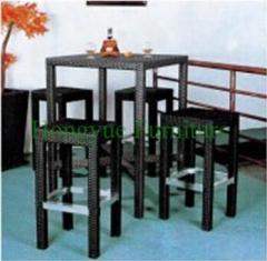 Rattan wicker bar stool height furniture set supplier