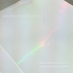 Custom Glossy White Rainbow Hologram Self Destructive Sticker Paper Tamper Evident Seal Sticker Paper Material