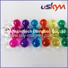 Clear plastic magent push pin/ colorful magent pin/ cup magnet/ magnet button
