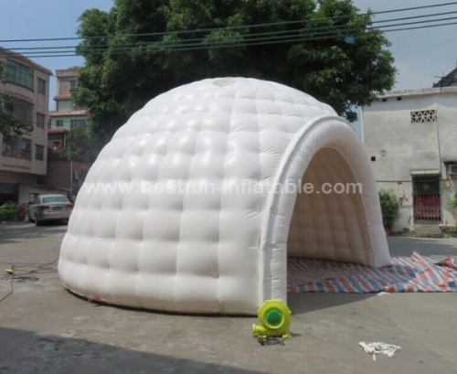 White inflatable dome tent with removable door
