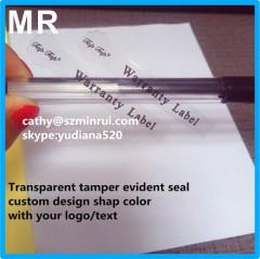 Custom transparent destructible vinyl breakable tamper seal labels