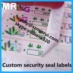 High quality hot stamped holographic logo security seal tamper sticker