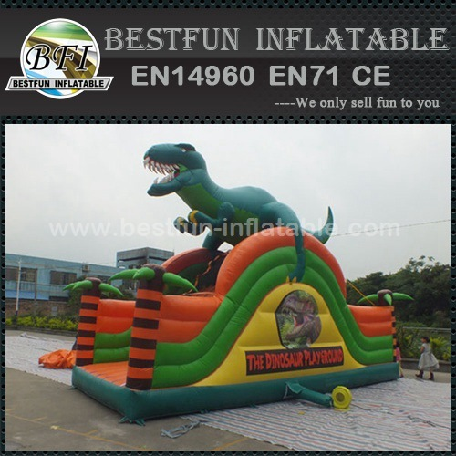 Single lane inflatable slides with dragon