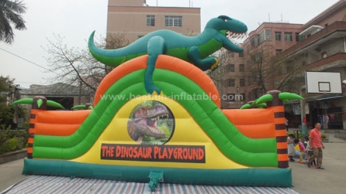 Dinosaur single lane inflatable slides with dragon for park