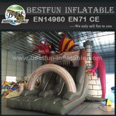 Fierce dragon Inflatable pvc slide with triple lanes