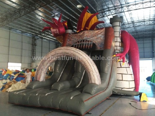 Dragon Tower inflatable castle Slide Combo