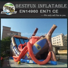 Ocean theme Octopus inflatable bouncer ship slide