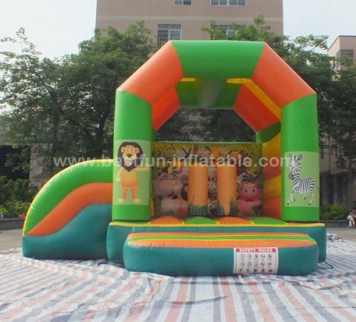 Inflatable safari bouncy castle with animals themed