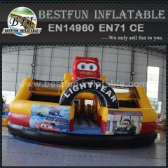 Commercial giant cartoon racing car inflatable slides