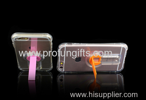 Clear Tpu Mobile Phone Shell High Transparent Shining With rotatable Stand holder for iphone