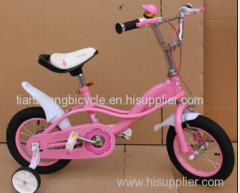 4 wheel steel frame girls bicycle with training wheel