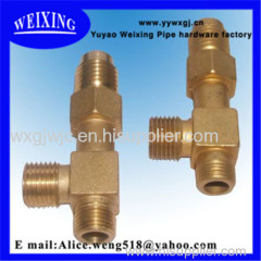 male thread plated copper reducing tee forged tee connector fitting hydraulic fitting