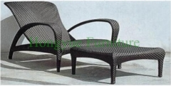Patio outdoor rattan material lounge chair set