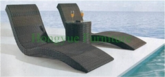 Outdoor black rattan lounge chair with table set furniture