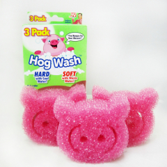 3pcs pack Non-scratch scrubbing sponge pink hog shaped