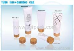 cosmetic plastic tube WITH WOODEN BAMBOO CAP