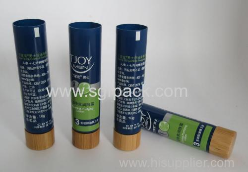 2015 hot sale plastic tube with bamboo cap