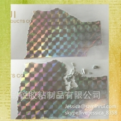Custom Hologram Destructible Vinyl Label Material Holographic Self Destructive Sticker Paper