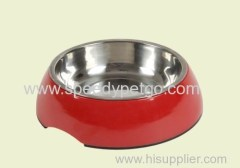 M Size Red Color Pet stainless steel bowl with malemine frame