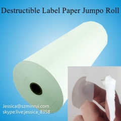 Custom Fragile Adhesive Eggshell Sticker Paper Destructible Vinyl Security Label Paper Raw Material Rolls