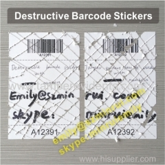 Custom Warranty Use Security Seal Barcode Labels Security Eggshell Barcode Stickers