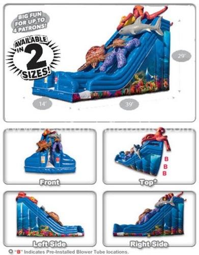 Blue Ocean Theme Inflatable Double Drop Slide