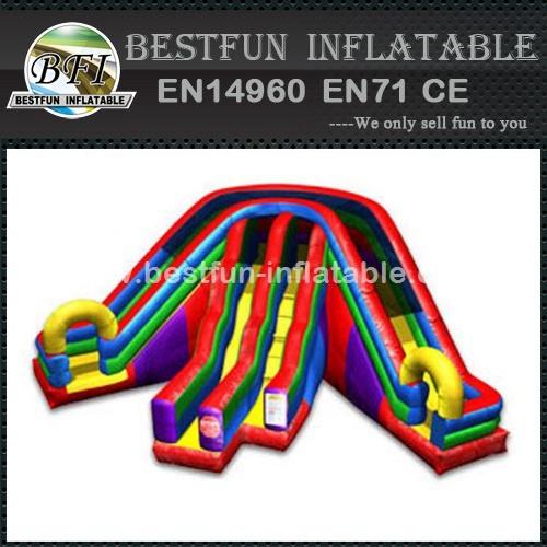 Triple lane slip slide inflatable
