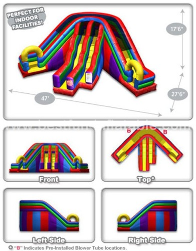 Circus inflatable triple lanes dry bouncy slide