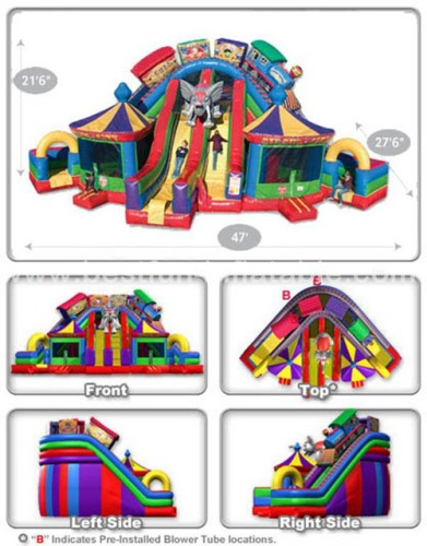 Funny inflatable circus city bouncer slide