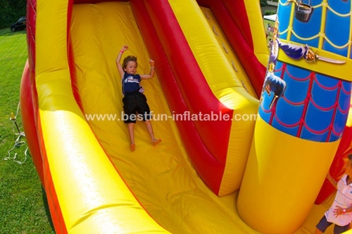 Inflatable buccaneer pirate ship slide