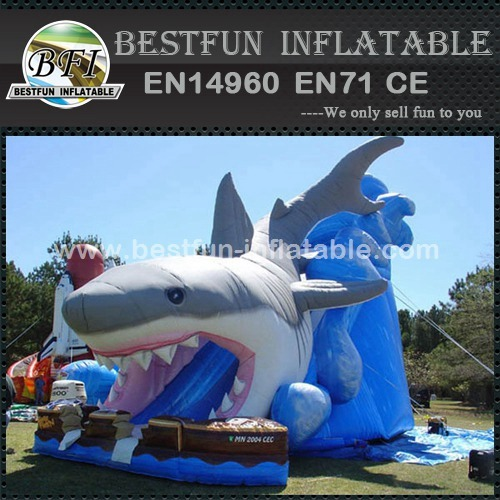 Giant inflatable shark water slide