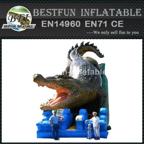 Jumping crocodile inflatable slides
