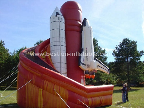 Space shuttle air plane slide inflatable twist slide